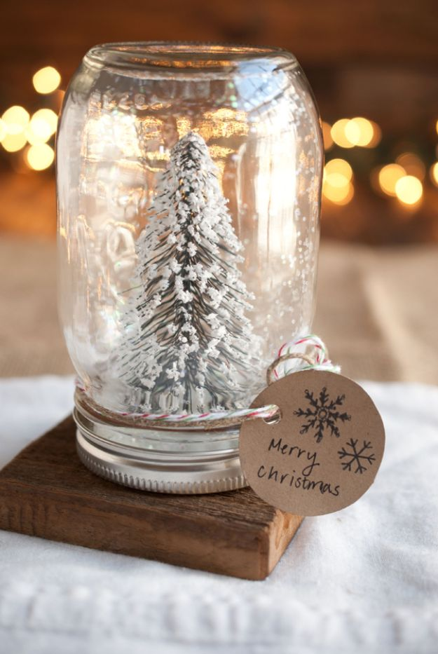 DIY Snow Globe Ideas - DIY Anthropologie Mason Jar Snow Globes - Easy Ideas To Make Snow Globes With Kids - Mason Jar, Picture, Ornament, Waterless Christmas Crafts - Cheap DYI Holiday Gift Ideas