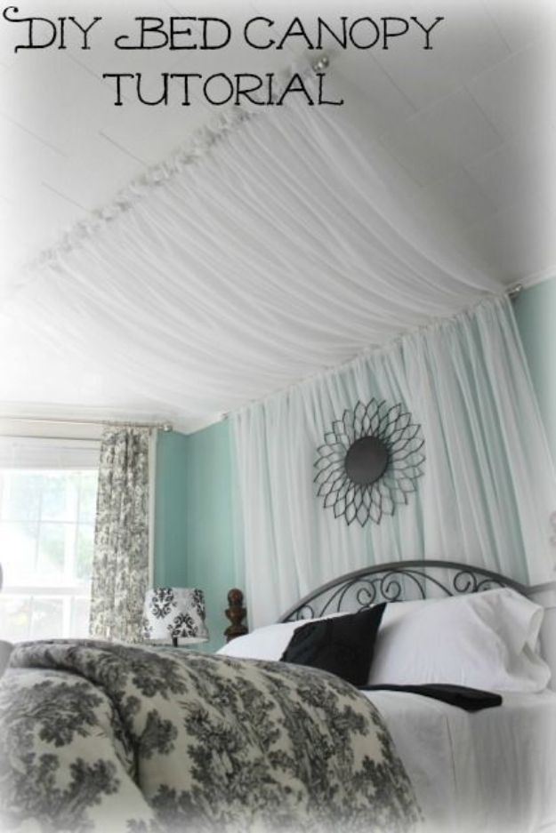 DIY Bedroom Decor Ideas - DIY Bed Canopy Curtains - Easy Room Decor Projects for The Home - Cheap Farmhouse Crafts, Wall Art Idea, Bed and Bedding, Furniture