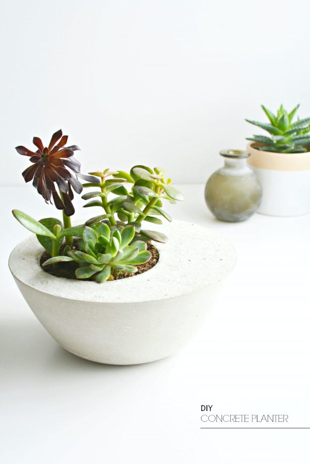 DIY Bedroom Decor Ideas - DIY Concrete Planter - Easy Room Decor Projects for The Home - Cheap Farmhouse Crafts, Wall Art Idea, Bed and Bedding, Furniture