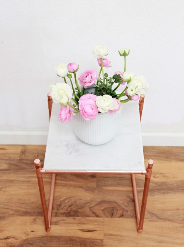DIY Bedroom Decor Ideas - DIY Copper Pipe Marble Plant Stand - Easy Room Decor Projects for The Home - Cheap Farmhouse Crafts, Wall Art Idea, Bed and Bedding, Furniture