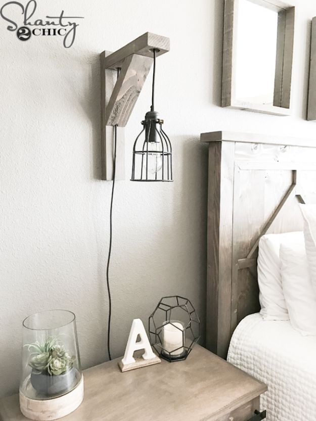 DIY Bedroom Decor Ideas - DIY Corbel Sconce Light For $25 - Easy Room Decor Projects for The Home - Cheap Farmhouse Crafts, Wall Art Idea, Bed and Bedding, Furniture