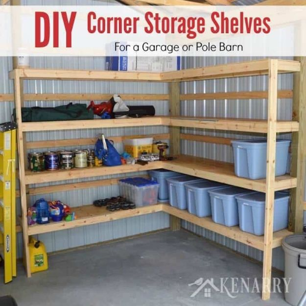 DIY Garage Organization Ideas - DIY Corner Shelves for Garage or Pole Barn Storage - Cheap Ways to Organize Garages on A Budget - Ideas for Storage, Storing Tools, Small Spaces, DYI Shelves, Organizing Hacks