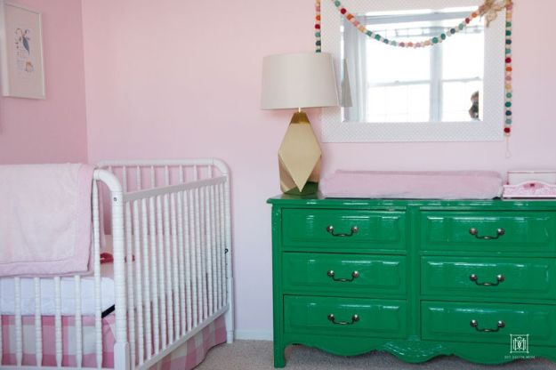DIY Nursery Decor Ideas for Girls - DIY Crib Skirt - Cute Pink Room Decorations for Baby Girl - Crib Bedding, Changing Table, Organization Idea, Furniture and Easy Wall Art