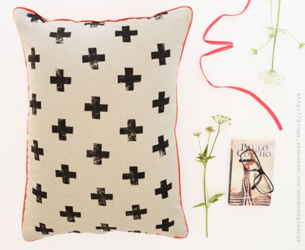 DIY Bedroom Decor Ideas - DIY Cushion with Cross Print - Easy Room Decor Projects for The Home - Cheap Farmhouse Crafts, Wall Art Idea, Bed and Bedding, Furniture