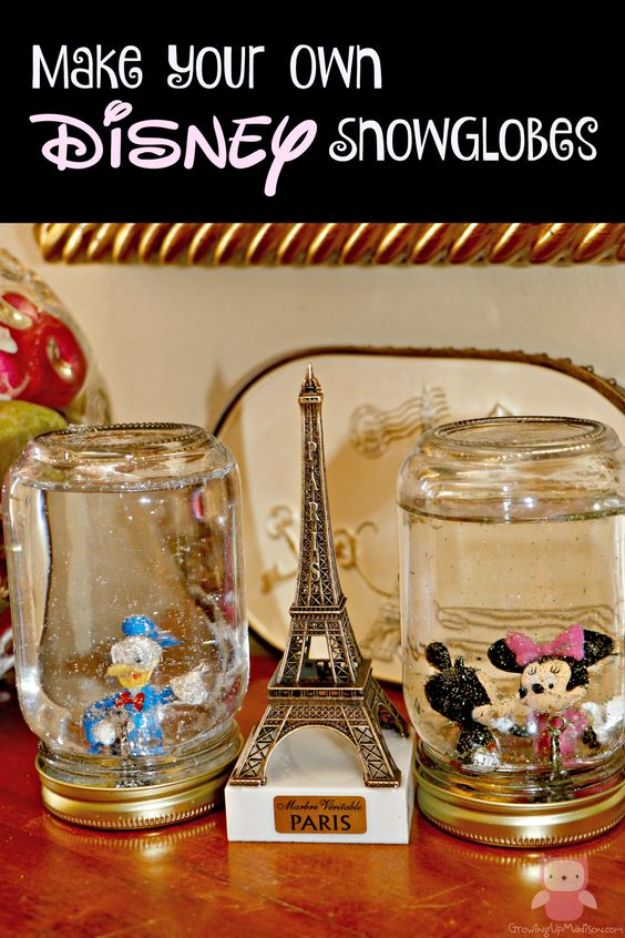 DIY Snow Globe Ideas - DIY Disney Snow Globes - Easy Ideas To Make Snow Globes With Kids - Mason Jar, Picture, Ornament, Waterless Christmas Crafts - Cheap DYI Holiday Gift Ideas