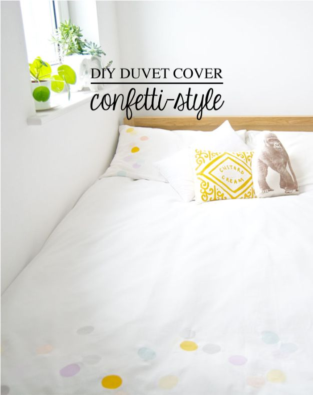 DIY Bedroom Decor Ideas - DIY Duvet Cover Confetti-Style - Easy Room Decor Projects for The Home - Cheap Farmhouse Crafts, Wall Art Idea, Bed and Bedding, Furniture