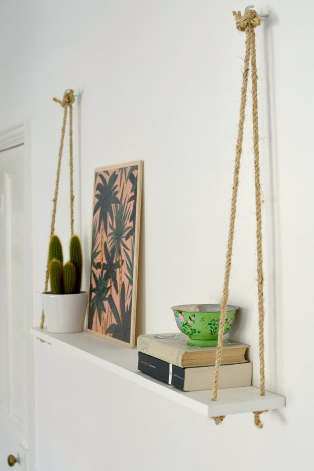 DIY Bedroom Decor Ideas - DIY Easy Rope Shelf - Easy Room Decor Projects for The Home - Cheap Farmhouse Crafts, Wall Art Idea, Bed and Bedding, Furniture