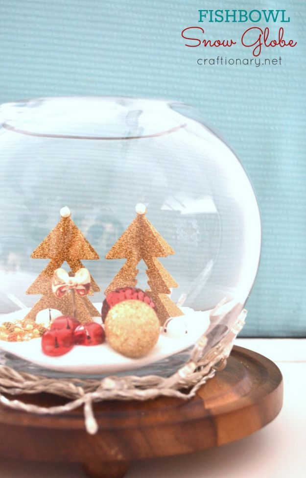 DIY Snow Globe Ideas - DIY Fishbowl Snow Globe - Easy Ideas To Make Snow Globes With Kids - Mason Jar, Picture, Ornament, Waterless Christmas Crafts - Cheap DYI Holiday Gift Ideas