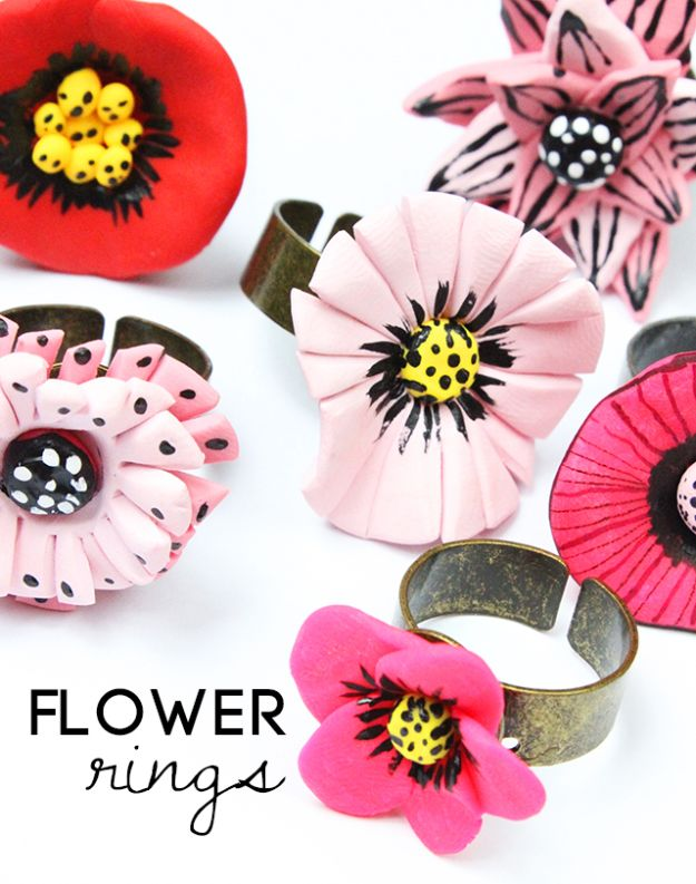 Fun DIY Ideas for Adults - DIY Flower Rings - Easy Crafts and Gift Ideas , Cool Projects That Are Fun to Make - Crafts Idea for Men and Women