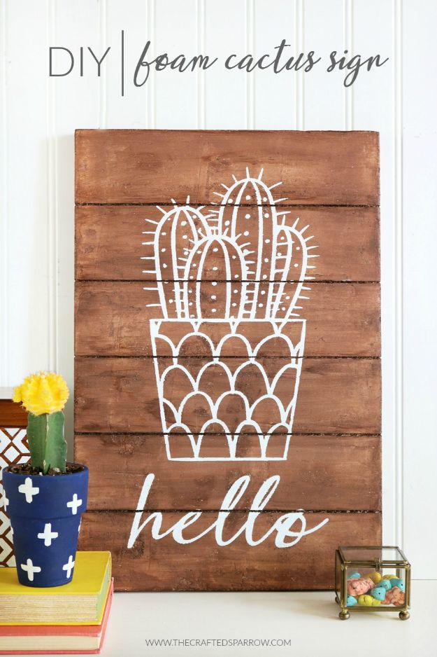 Fun DIY Ideas for Adults - DIY Foam Cactus Sign - Easy Crafts and Gift Ideas , Cool Projects That Are Fun to Make - Crafts Idea for Men and Women
