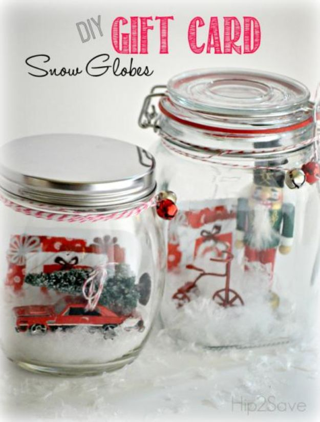 DIY Snow Globe Ideas - DIY Gift Card Snow Globes - Easy Ideas To Make Snow Globes With Kids - Mason Jar, Picture, Ornament, Waterless Christmas Crafts - Cheap DYI Holiday Gift Ideas