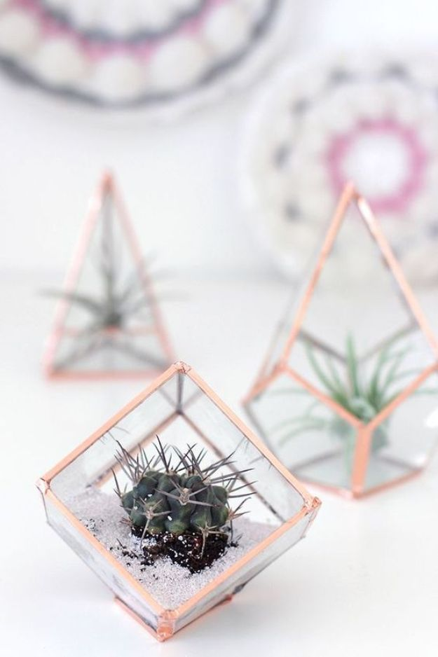 DIY Bedroom Decor Ideas - DIY Glass Terrariums - Easy Room Decor Projects for The Home - Cheap Farmhouse Crafts, Wall Art Idea, Bed and Bedding, Furniture