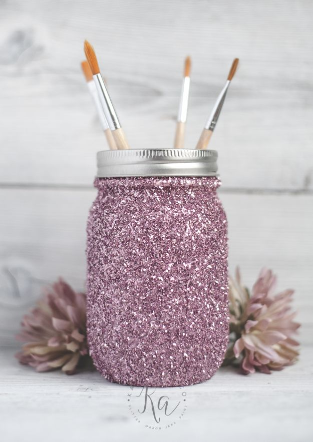 Fun DIY Ideas for Adults - DIY Glitter Mason Jar - Easy Crafts and Gift Ideas , Cool Projects That Are Fun to Make - Crafts Idea for Men and Women