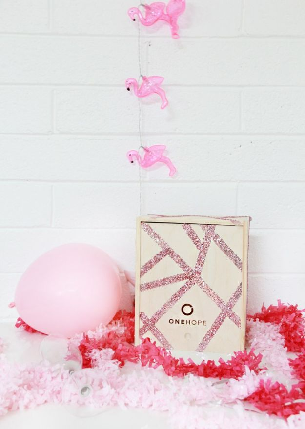 Fun DIY Ideas for Adults - DIY Glitter Wooden Gift Crate - Easy Crafts and Gift Ideas , Cool Projects That Are Fun to Make - Crafts Idea for Men and Women