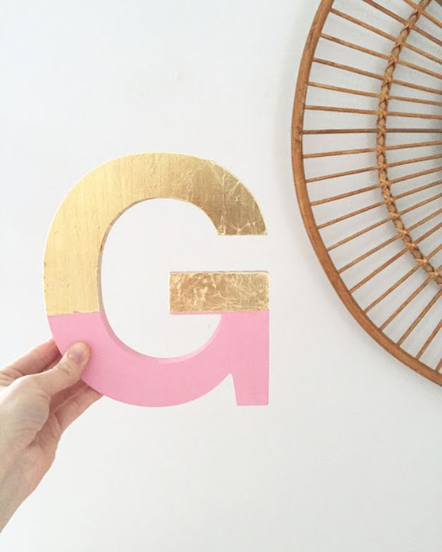 DIY Nursery Decor Ideas for Girls - DIY Gold Foil Letter Art - Cute Pink Room Decorations for Baby Girl - Crib Bedding, Changing Table, Organization Idea, Furniture and Easy Wall Art