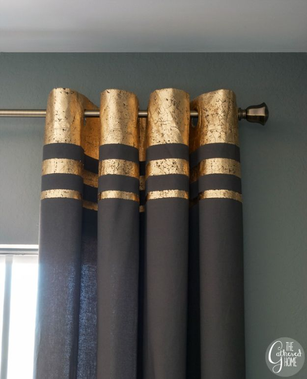 DIY Bedroom Decor Ideas - DIY Gold Leaf Embellished Curtains - Easy Room Decor Projects for The Home - Cheap Farmhouse Crafts, Wall Art Idea, Bed and Bedding, Furniture