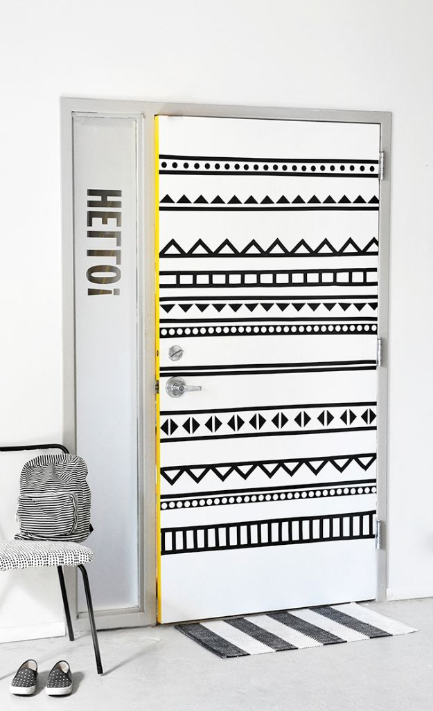DIY Bedroom Decor Ideas - DIY Graphic Door - Easy Room Decor Projects for The Home - Cheap Farmhouse Crafts, Wall Art Idea, Bed and Bedding, Furniture