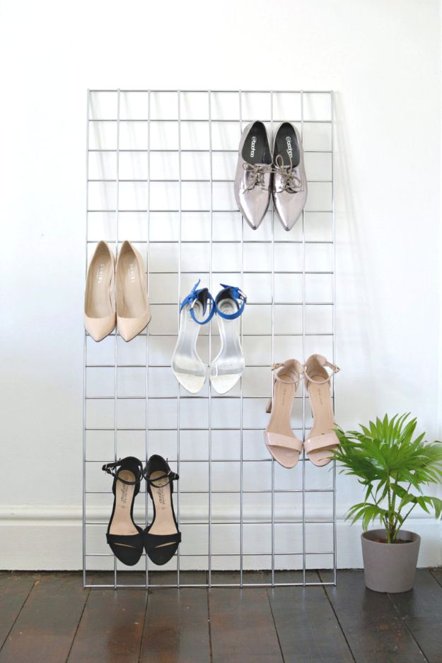 DIY Shoe Racks - DIY Grid Shoe Storage Display - Easy DYI Shoe Rack Tutorial - Cheap Closet Organization Ideas for Shoes - Wood Racks, Cubbies and Shelves to Make for Shoes