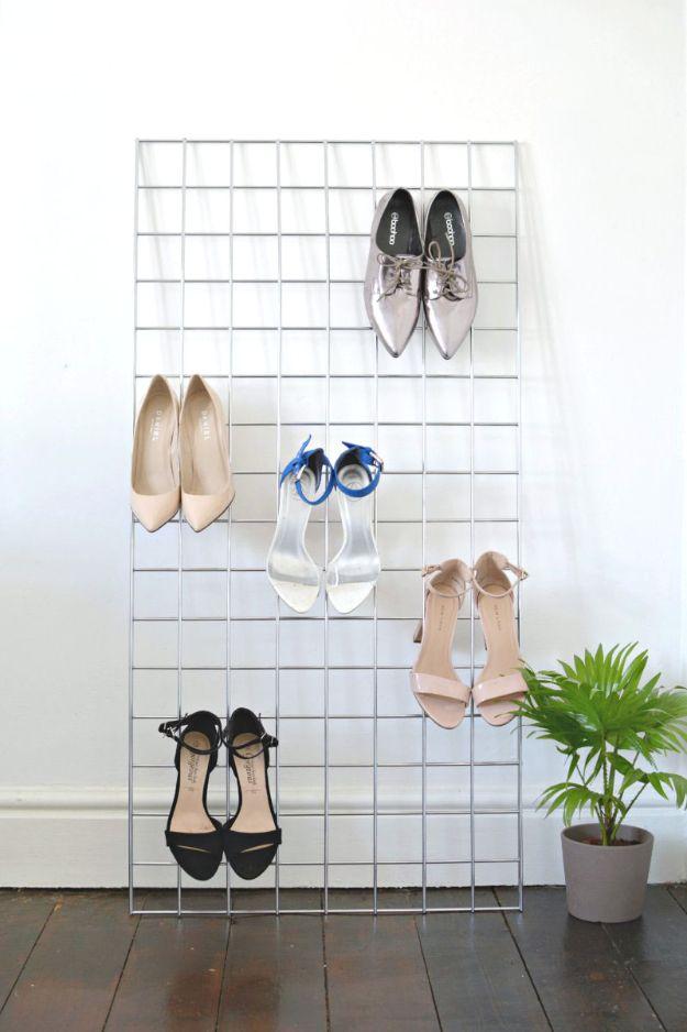 DIY Shoe Racks - DIY Grid Shoe Storage Display - Easy DYI Shoe Rack Tutorial - Cheap Closet Organization Ideas for Shoes - Wood Racks, Cubbies and Shelves to Make for Shoes