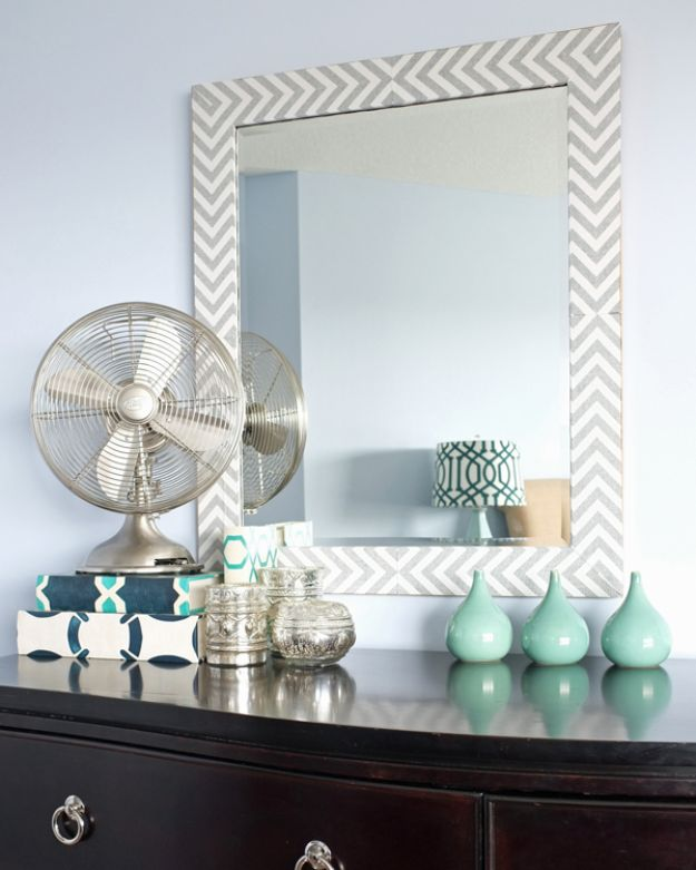 DIY Bedroom Decor Ideas - DIY Herringbone Mirror - Easy Room Decor Projects for The Home - Cheap Farmhouse Crafts, Wall Art Idea, Bed and Bedding, Furniture