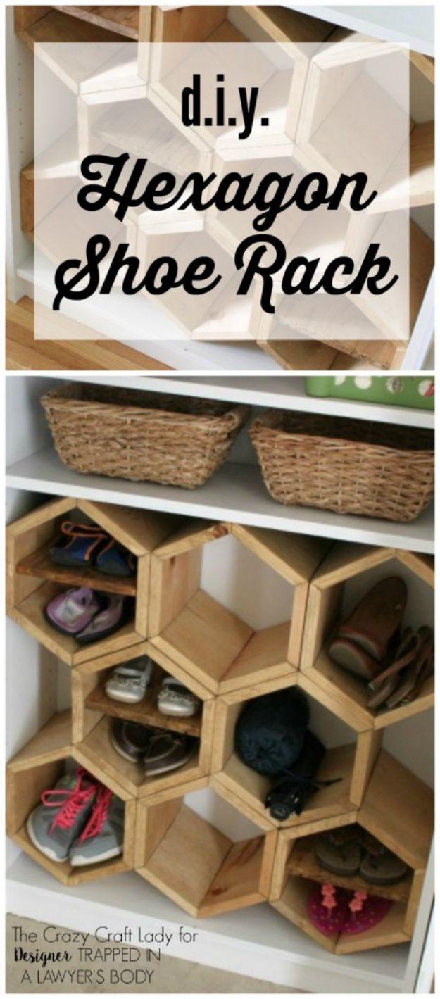 DIY Shoe Racks - DIY Hexagon Shoe Rack - Easy DYI Shoe Rack Tutorial - Cheap Closet Organization Ideas for Shoes - Wood Racks, Cubbies and Shelves to Make for Shoes