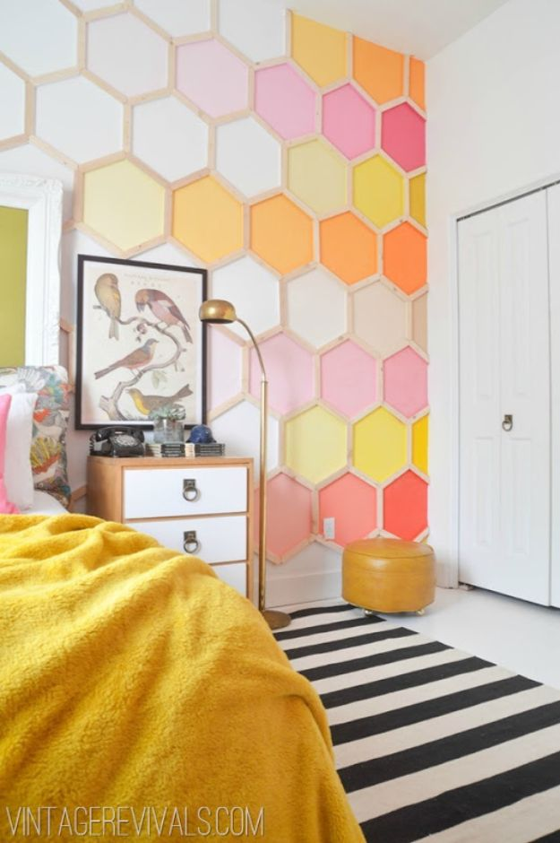 DIY Bedroom Decor Ideas - DIY Honeycomb Wall - Easy Room Decor Projects for The Home - Cheap Farmhouse Crafts, Wall Art Idea, Bed and Bedding, Furniture