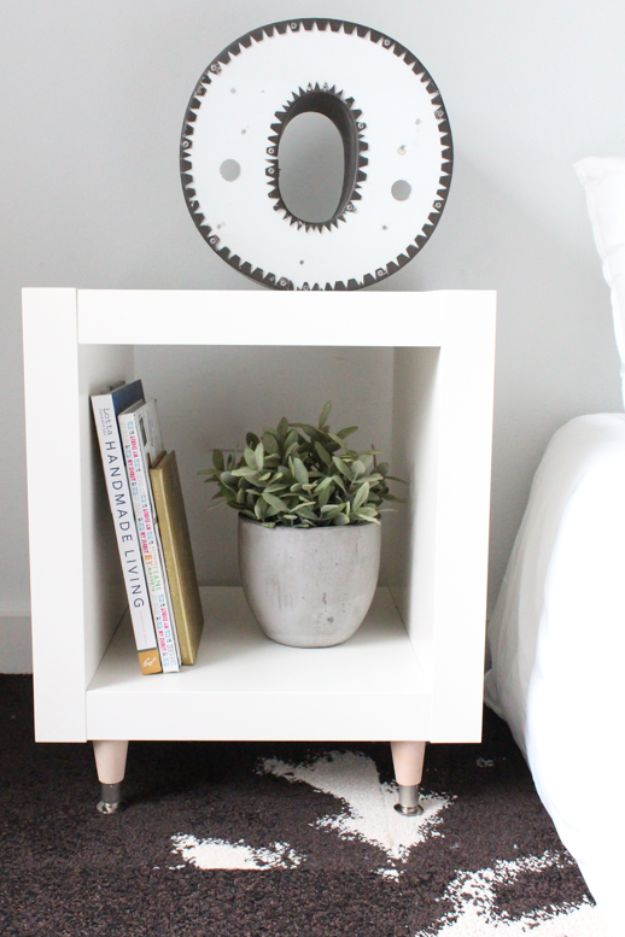 DIY Bedroom Decor Ideas - DIY IKEA Hack Side Table - Easy Room Decor Projects for The Home - Cheap Farmhouse Crafts, Wall Art Idea, Bed and Bedding, Furniture