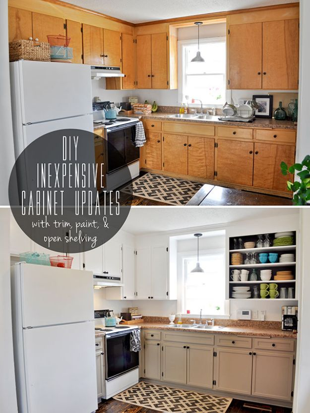 DIY Kitchen Cabinets - DIY Inexpensive Cabinet Updates - Makeover Ideas for Kitchen Cabinet - Build and Design Kitchen Cabinet Projects on A Budget - Cheap Reface Idea and Tutorial