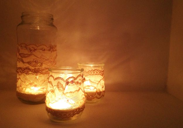 DIY Bedroom Decor Ideas - DIY Lace Candles - Easy Room Decor Projects for The Home - Cheap Farmhouse Crafts, Wall Art Idea, Bed and Bedding, Furniture