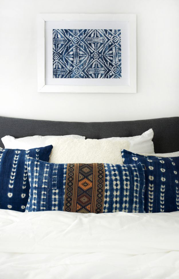 DIY Bedroom Decor Ideas - DIY Large Scale Stenciled Art - Easy Room Decor Projects for The Home - Cheap Farmhouse Crafts, Wall Art Idea, Bed and Bedding, Furniture