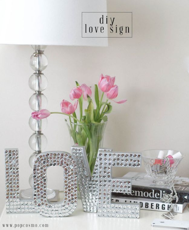 DIY Bedroom Decor Ideas - DIY Love Sign - Easy Room Decor Projects for The Home - Cheap Farmhouse Crafts, Wall Art Idea, Bed and Bedding, Furniture