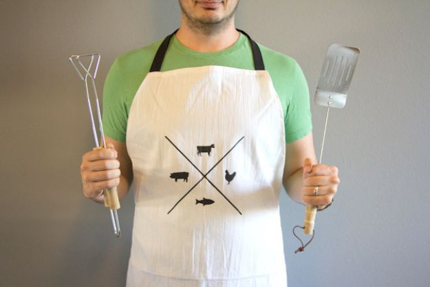 DIY Gifts for Him - DIY Manly Man Apron - Homemade Gift Ideas for Guys - DYI Christmas Gift for Dad, Boyfriend, Husband Brother - Easy and Cheap Handmade Presents Birthday https://diyjoy.com/diy-gifts-for-him