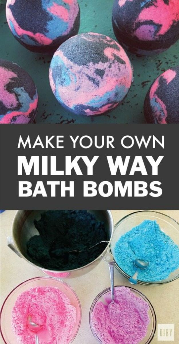 DIY Bath Bombs - DIY Milky Way Galaxy Bath Bomb - Easy DIY Bath Bomb Recipe Ideas - How to Make Bath Bombs at Home - Best Lush Copycats, Lavender, Glitter Homemade Bath Fizzies #bathbombs #diyideas