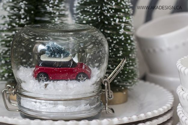 DIY Snow Globe Ideas - DIY Mini Cooper Dinky Car Christmas Tree Snow Globe - Easy Ideas To Make Snow Globes With Kids - Mason Jar, Picture, Ornament, Waterless Christmas Crafts - Cheap DYI Holiday Gift Ideas