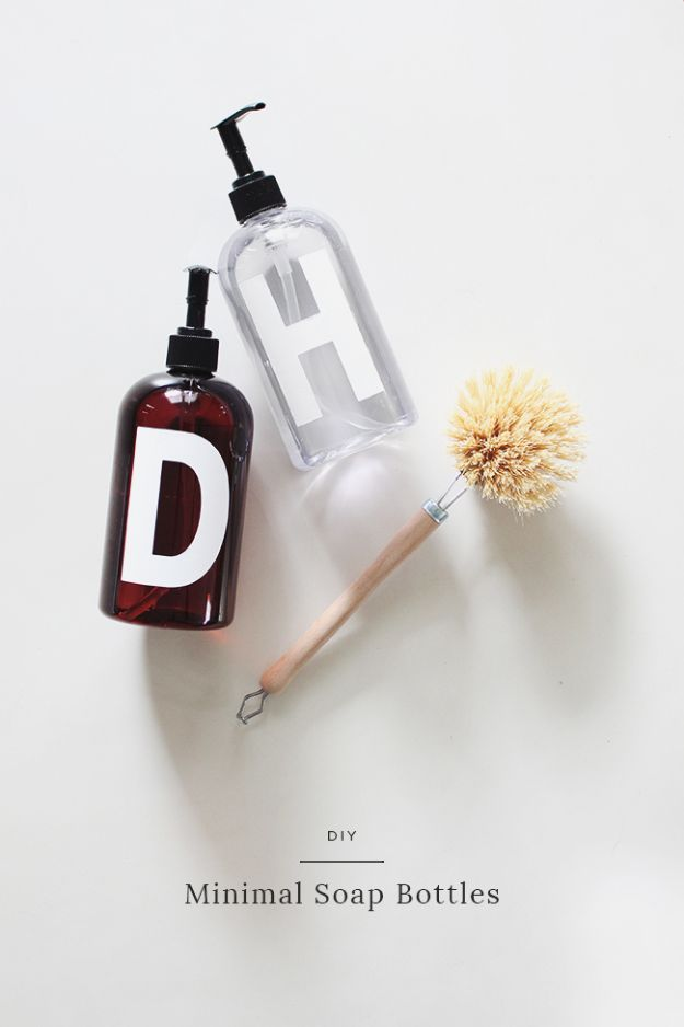 DIY Soap Dispensers - DIY Minimal Soap Bottles - Easy Soap Dispenser Ideas to Make for Kitchen, Bathroom - Mason Jar Idea, Cute Crafts to Make and Sell, Kids Bath Decor