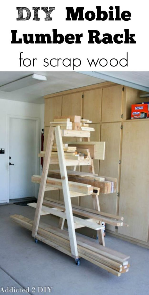 DIY Garage Organization Ideas - DIY Mobile Lumber Rack - Ideas for Storage, Storing Tools, Small Spaces, DYI Shelves, Organizing Hacks