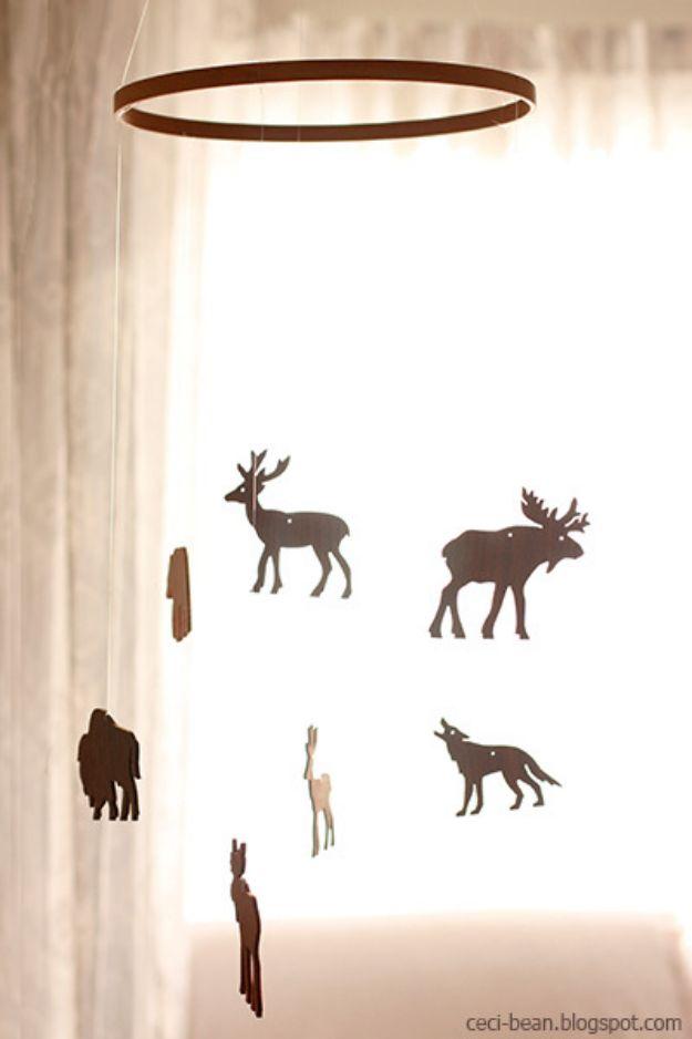 DIY Nursery Decor Ideas for Boys - DIY Modern Woodland Mobile - Cute Blue Room Decorations for Baby Boy- Crib Bedding, Changing Table, Organization Idea, Furniture and Easy Wall Art