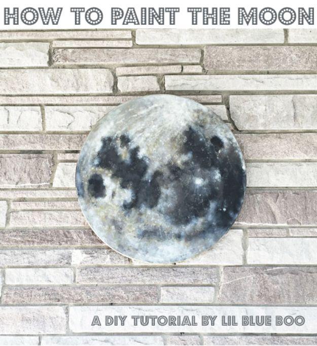 DIY Nursery Decor Ideas for Boys - DIY Moon Painting - Cute Blue Room Decorations for Baby Boy- Crib Bedding, Changing Table, Organization Idea, Furniture and Easy Wall Art