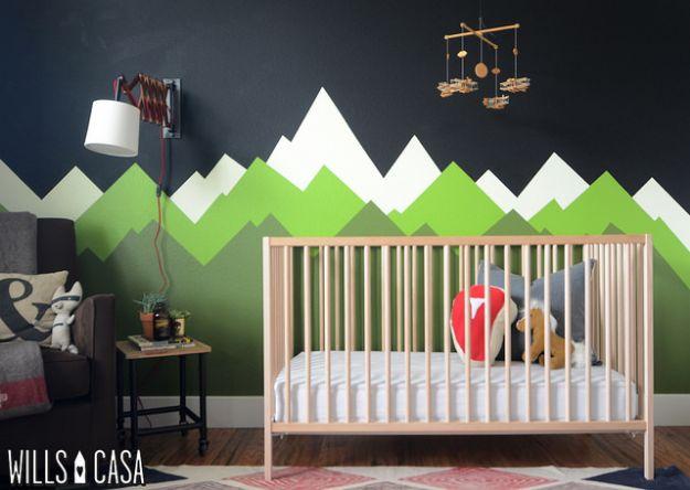 DIY Nursery Decor Ideas for Boys - DIY Mountain Mural - Cute Blue Room Decorations for Baby Boy- Crib Bedding, Changing Table, Organization Idea, Furniture and Easy Wall Art