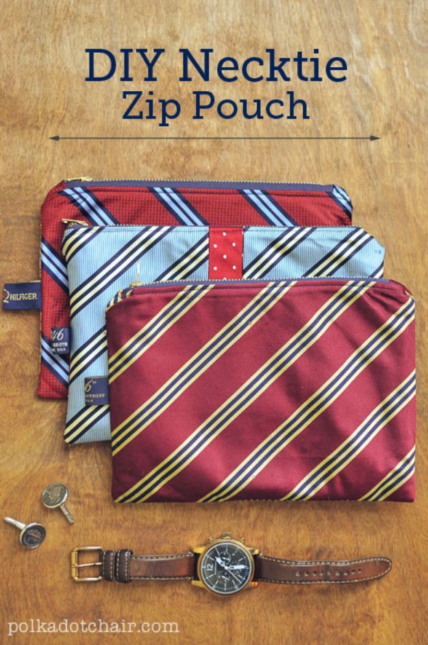 DIY Gifts for Him - DIY Necktie Zip Pouch - Homemade Gift Ideas for Guys - DYI Christmas Gift for Dad, Boyfriend, Husband Brother - Easy and Cheap Handmade Presents Birthday https://diyjoy.com/diy-gifts-for-him