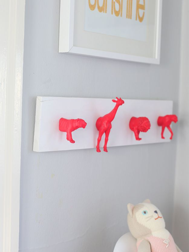 DIY Nursery Decor Ideas for Girls - DIY Neon Nursery Wall Hooks - Cute Pink Room Decorations for Baby Girl - Crib Bedding, Changing Table, Organization Idea, Furniture and Easy Wall Art