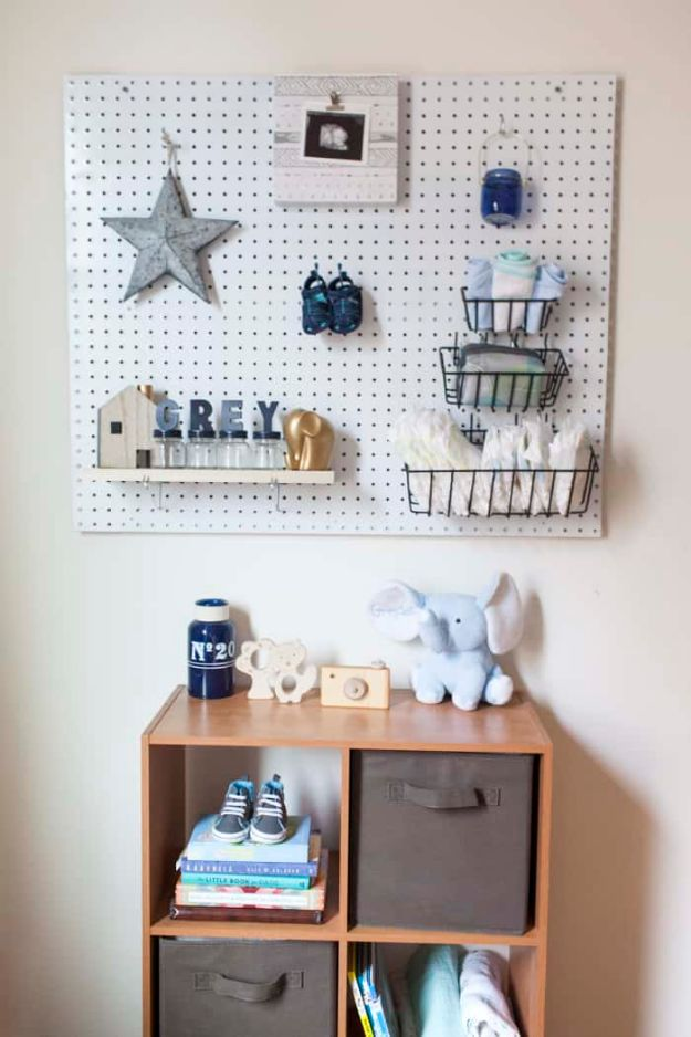 DIY Nursery Decor Ideas for Boys - DIY Nursery Peg Board - Cute Blue Room Decorations for Baby Boy- Crib Bedding, Changing Table, Organization Idea, Furniture and Easy Wall Art