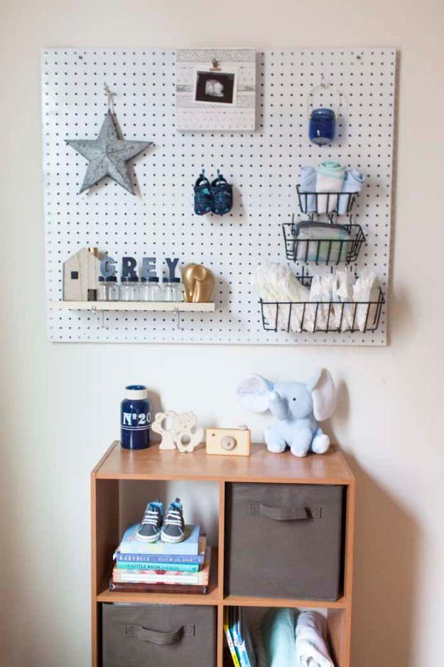 DIY Nursery Decor Ideas for Boys - DIY Nursery Peg Board - Cute Blue Room Decorations for Baby Boy- Crib Bedding, Changing Table, Organization Idea, Furniture and Easy Wall Art