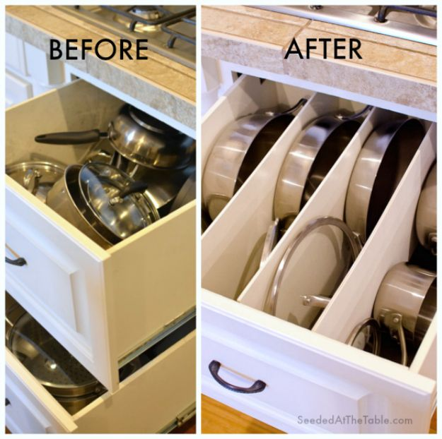 DIY Pantry Organizing Ideas - DIY Organized Pots and Pans Drawer - Easy Organization for the Kitchen Pantry - Cheap Shelving and Storage Jars, Labels, Containers, Baskets to Organize Cans and Food, Spices