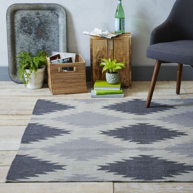 Modern DIY Bedroom Decor Ideas - DIY Painted Rug Inspired by West Elm - Copycat Designer Furniture Knockoffs With Step by Step Tutorial - DIY Rugs for Bedroom - Easy Room Decor Projects for The Home - Creative Homemade Bed and Bedding, Furniture