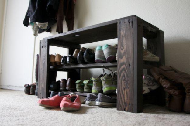 DIY Shoe Racks - DIY Pallet Shoe Rack Bench - Easy DYI Shoe Rack Tutorial - Cheap Closet Organization Ideas for Shoes - Wood Racks, Cubbies and Shelves to Make for Shoes
