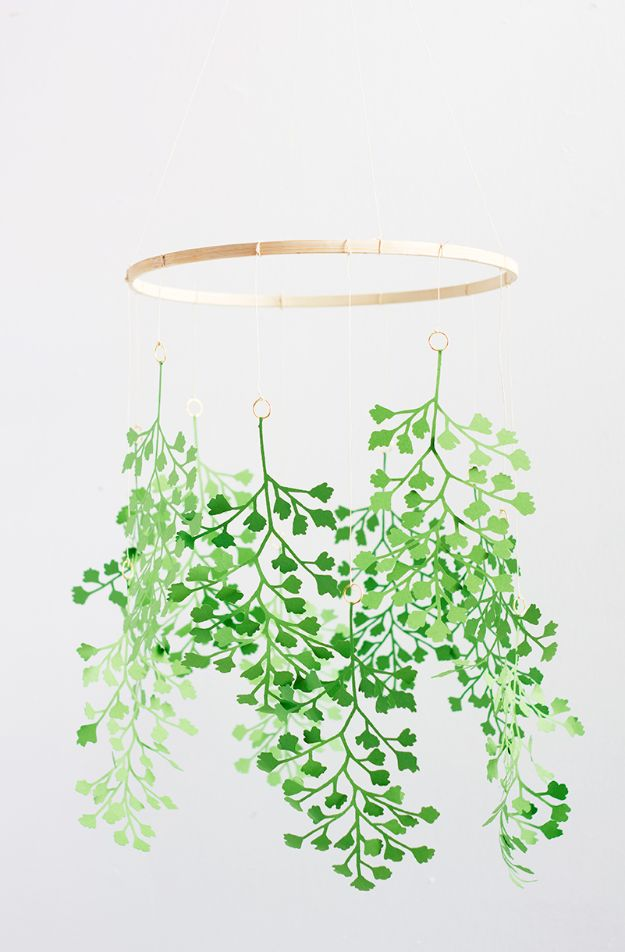 DIY Bedroom Decor Ideas - DIY Paper Fern Mobile - Easy Room Decorating Ideas - Hanging Mobile Ideas for Plants - Cheap Farmhouse Crafts, Wall Art Idea, Bed and Bedding, Furniture