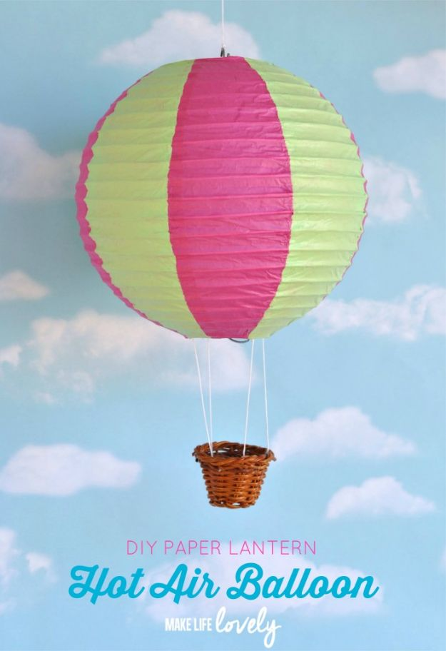 DIY Nursery Decor Ideas for Boys - DIY Paper Lantern Hot Air Balloons - Cute Blue Room Decorations for Baby Boy- Crib Bedding, Changing Table, Organization Idea, Furniture and Easy Wall Art