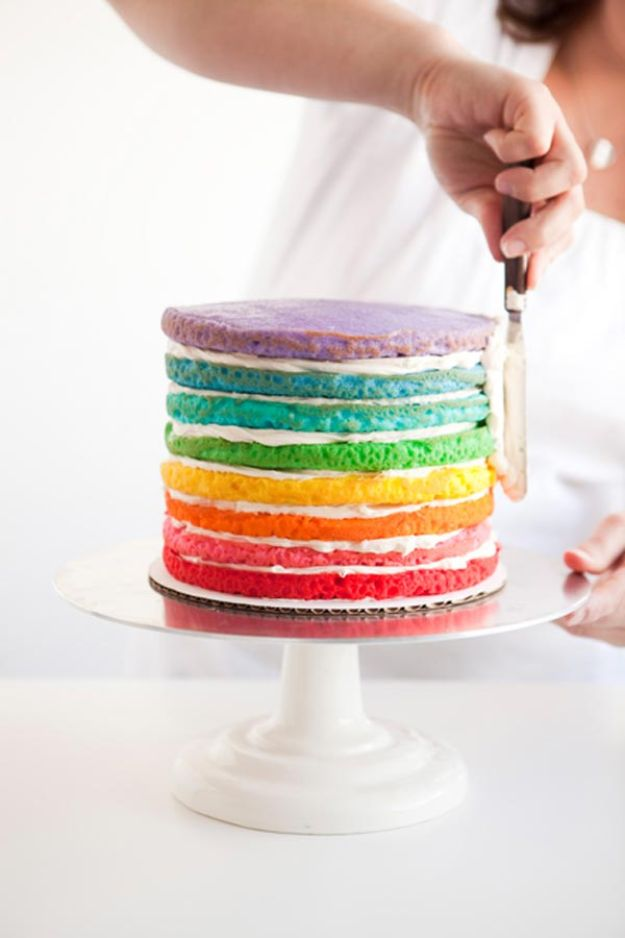 Baby Shower Cakes DIY - DIY Rainbow Cake - Easy Cake Recipes and Cupcakes to Make For Babies Showers - Ideas for Boys and Girls, Neutral, for Twins