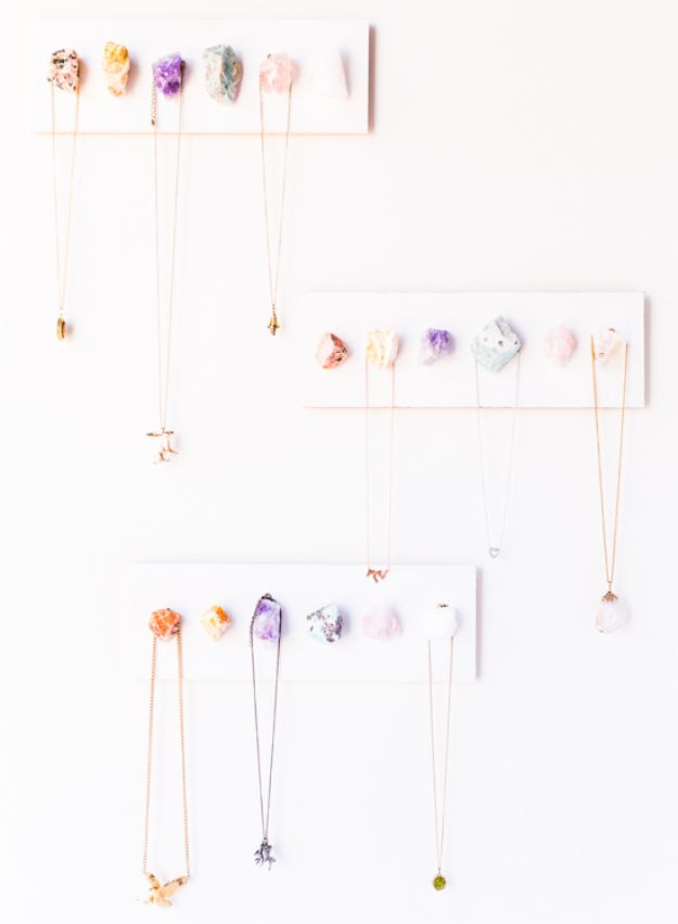 DIY Bedroom Decor Ideas - DIY Raw Crytal Necklace Display - Easy Room Decor Projects for The Home - Cheap Farmhouse Crafts, Wall Art Idea, Bed and Bedding, Furniture